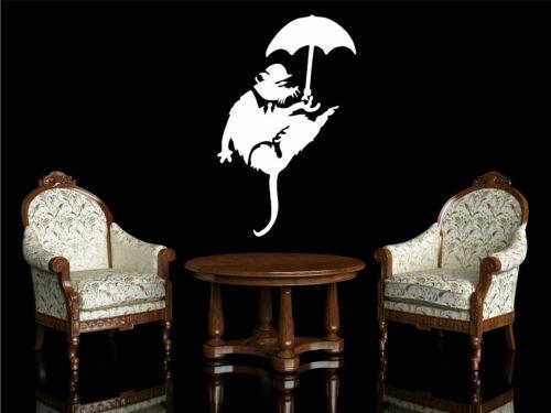Umbrella Rat Banksy style wall sticker vinyl art graphic decal lounge bedroom
