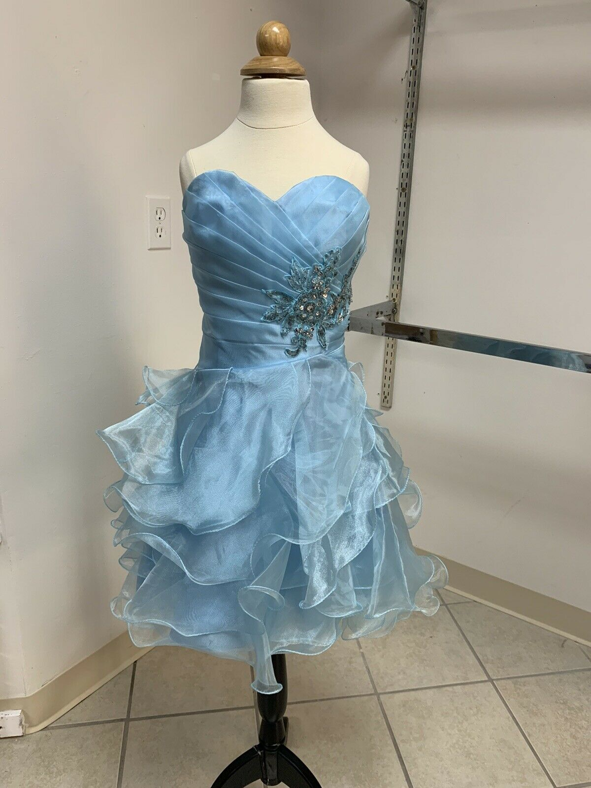 Size 0 Light Blue Prom Party Homecoming Pageant Formal Cocktail Dress
