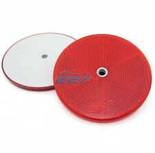 2x Red Circular Reflectors with Centre Hole, 76mm- trailer, caravan, gatepost