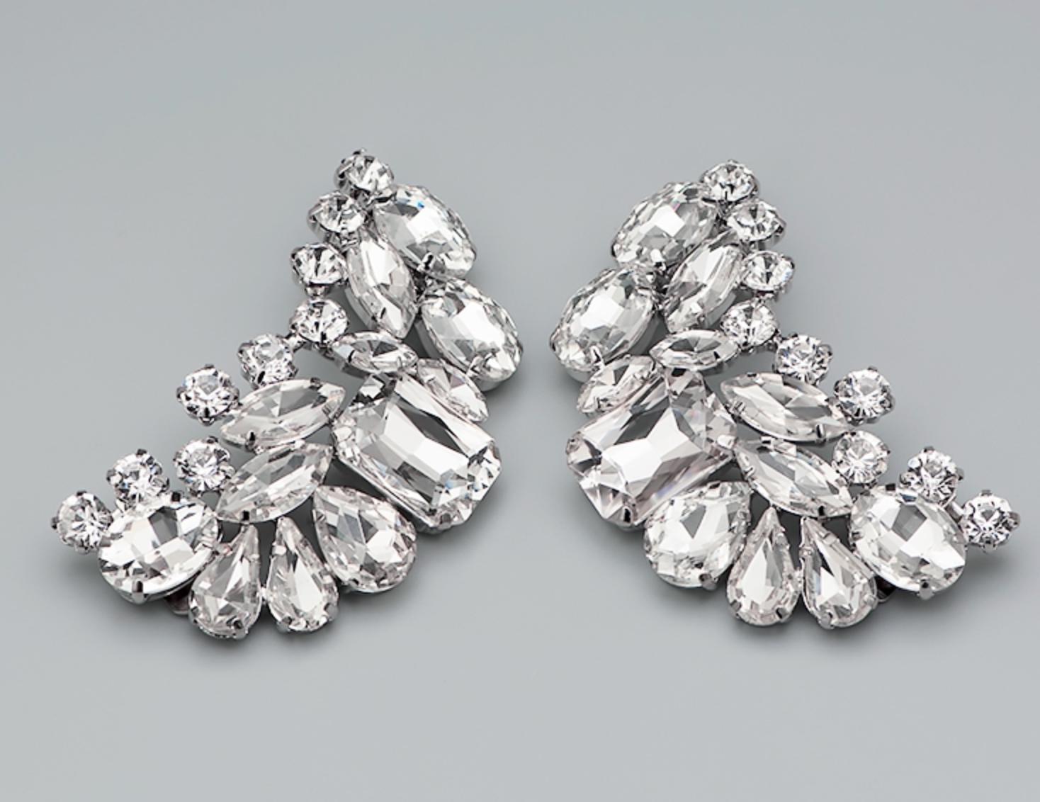 2 Pcs Rhinestone Crystal Diamante Crystal Wedding Shoes Shoe Clips Charms