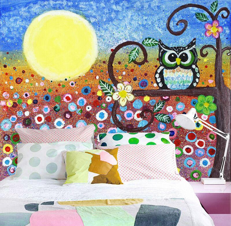 3D Moon Owl Tree 772 Wallpaper Mural Paper Wall Print Wallpaper Murals UK
