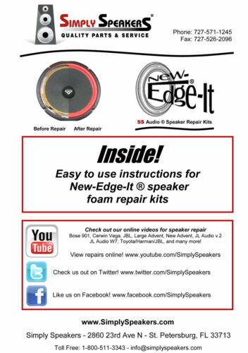 "ProAc Studio 1 MKII 6.5/"" Foam Surround Edge Repair Kit Pro Ac Speaker Foam Kit"