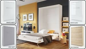 Bed 140 Cm.Details About Modern Vertical Wall Hidden Fold Away Pull Out Murphy Double Bed 140cm 4 Colours