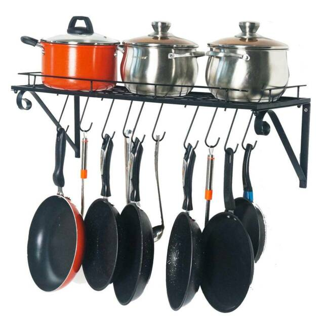 """30"""" Wall mounted pots and pans rack. Pot holders wall ..."""