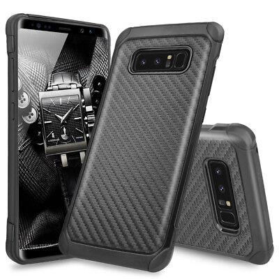 For Samsung Galaxy Note 8 Hybrid Black Carbon Fiber Slim TPU Armor Hard Case