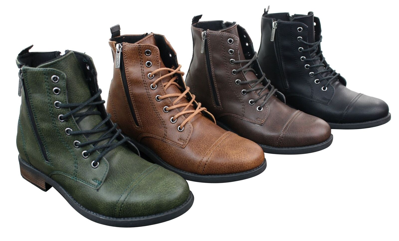 Mens Smart Casual Laced Zip Military Army Hiking Retro Vintage Combat Boots