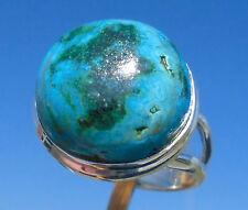 Chrysokoll mit Malachit Ring Gr. 17,25 Silber 925
