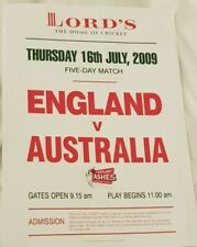 ENGLAND V AUSTRALIA- THE ASHES- LORD JULY 2009- POSTER AND COMPLETE SCORECARD