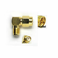 2x Winkelstecker-Winkeladapter SMA Stecker auf SMA Kupplung vergoldet 90° Neu
