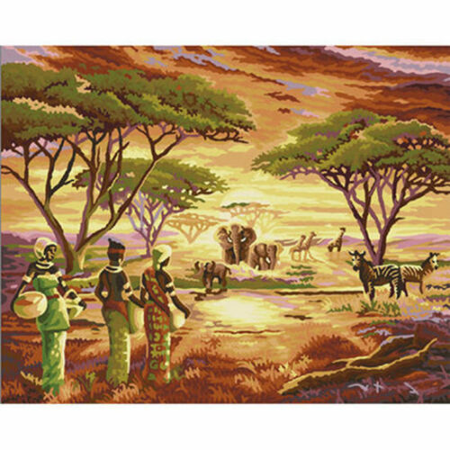 African Lady /& Animals Hand Painted Design Needlepoint Canvas H11