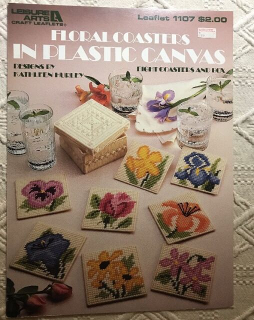 Floral Coasters In Plastic Canvas Pattern Book Leisure Arts 60 EBay Awesome Plastic Canvas Pattern Books
