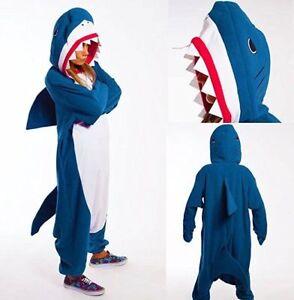 US-Adult-Unisex-Pajamas-Kigurumi-Cosplay-Costume-Animal-Onesi1-Sleepwear-Shark