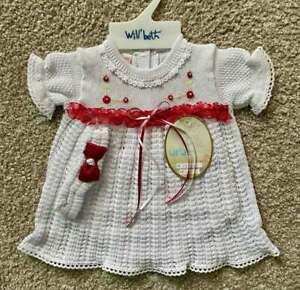 Will'beth Preemie Newborn Infant Baby Girl White Red Knit Dress Headband NWT