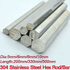 200330500mm Long 304 Stainless Steel Hex Bar Steel Solid Rod Select Dia 5 10mm