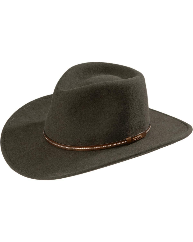 Stetson Mens Elkhorn Western Cowboy Hat H2O Waterproof Wool Felt Crushable Gray