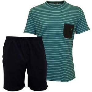 cffd341b HOM Crew-Neck T-Shirt & Shorts Jersey Men's Pyjama Set, Turquoise ...