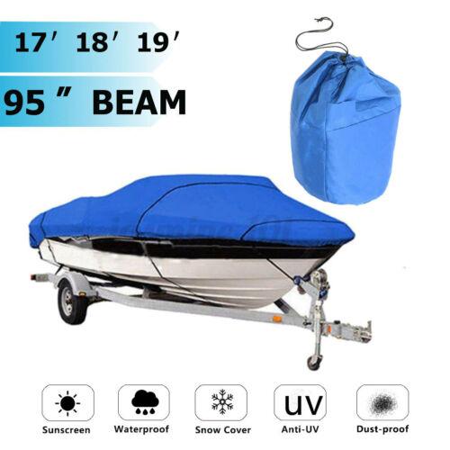 """V-Rumpf Bootspersenning Bootsabdeckung Bootsplane Blau Wasserdicht 210D 17/""""-19/"""""""