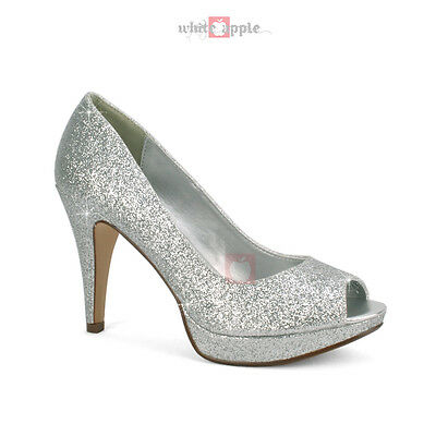 Glitter Peep Open Toe High Heel Platform Office Pump Classified Chess Silver