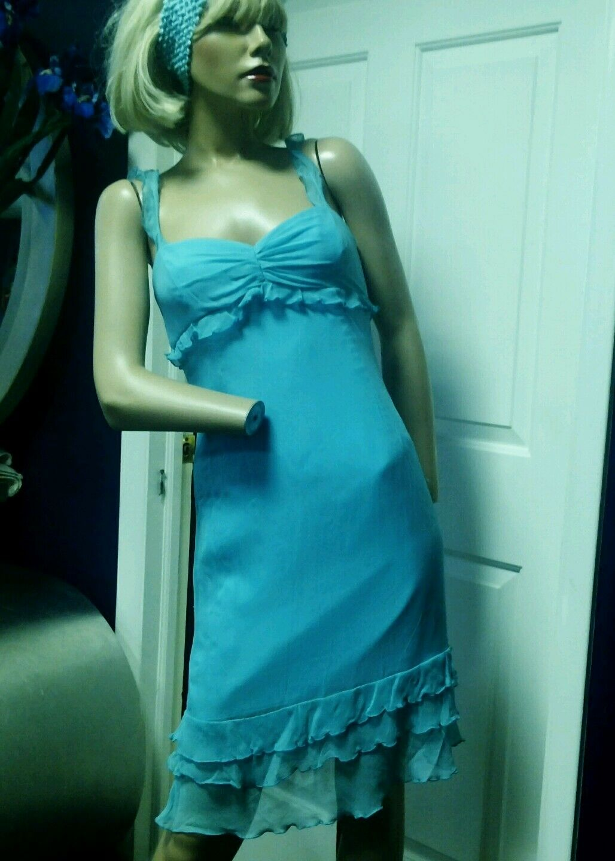 David Meister Dress Silk Silk Silk  Aqua bluee Size 2  300 e17978