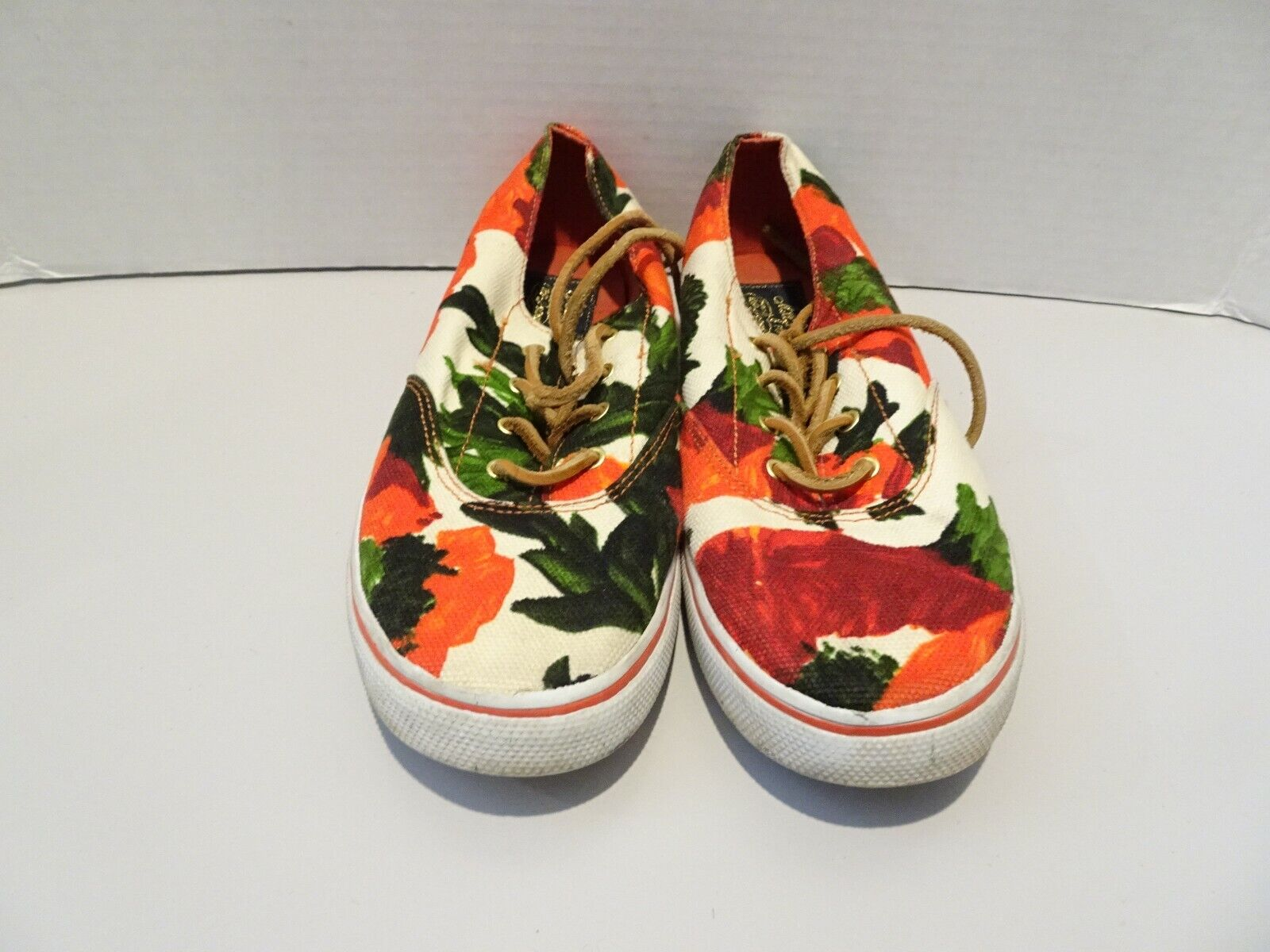 SPERRY Milly Lace Up Sneakers Red Floral Print Size 4.5 Casual