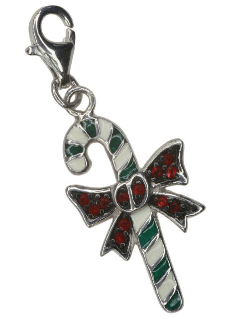 Candy Cane Christmas Cute Enamel Lobster Clasp Clip Sterling Silver Charm