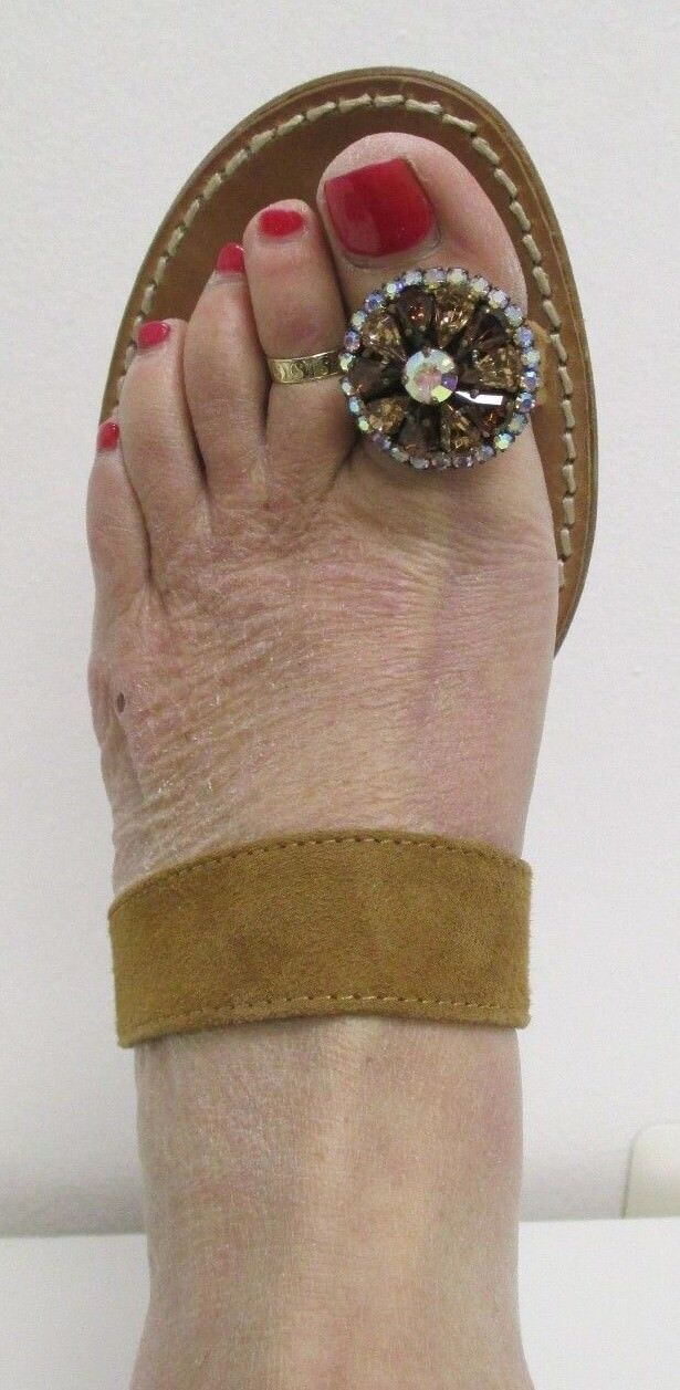 EMANUELA CARUSO CAPRI Brown Suede Sandals w/ Colorful Crystal Toe Ring - Size 39