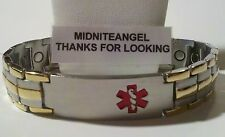 "8"" MEN MEDICAL ALERT 3 GOLD LINES & STAINLESS STEEL MAGNETIC BRACELET PRO HEALTH"