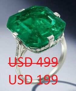 Solid 925 Sterling Silver Cocktail Party Beautiful Green Asscher Solitaire Ring