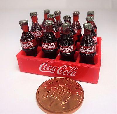1:12 SCALA 12 Loose Coca Cola bottiglie in una cassa in plastica Casa di Bambole tumdee COCA COLA
