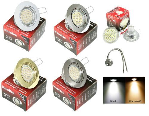 12Volt 3 Watt = 25 Watt SMD LED Decken Einbau Fassung Lisa GU5,3 IP20 Downlight