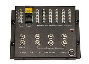 Video Telecom Telephone / Data Master Hub 4 Lines x 6 phones Cable Video Module