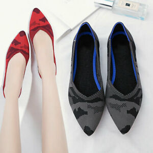 US4-11-Womens-Pointed-Toe-Knitting-Woven-Pumps-Ballet-Flats-Loafer-Shoes-Plus-SZ