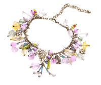 Magical Forest- Colourful Crystal, Pearl, Flower & Leaf Charm Bracelet(Zx185)