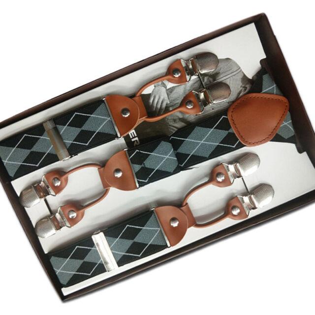 Hot Men Suspenders Y-Back Leather 6 Clips Braces 35mm Width Elastic Belt In Box