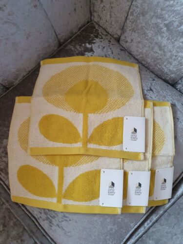 Orla kiely one single yellow Speckle flower oval Face Cloth flannel