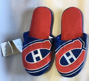 381175e955143 Montreal Canadiens Slippers Team Colors Big Logo NEW Two Toned House ...