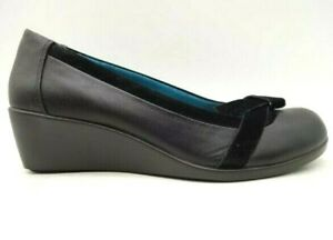 Vionic-Black-Leather-Slip-On-Dress-Casual-Comfort-Wedge-Shoes-Women-039-s-8-M