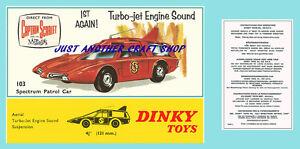 Dinky-Toys-103-capitan-Escarlata-Espectro-Patrol-Car-instrucciones-Folleto-amp-Poster