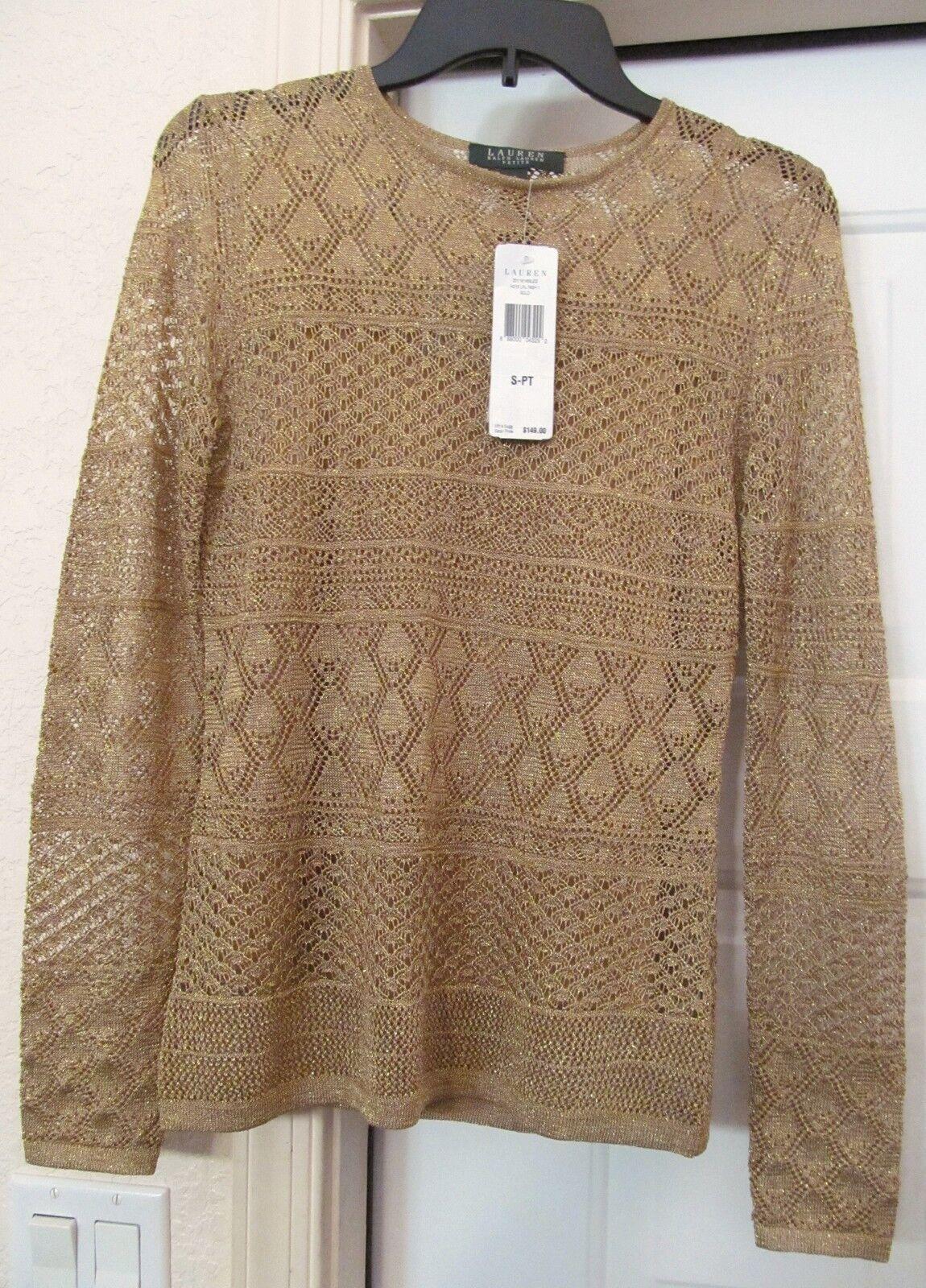 RALPH LAUREN PETITES Sweater top w Cami gold Metallic Crochet Look Size PS New