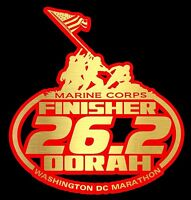 2016 Any Year Marine Corps Marathon Red Gold Foil Color Decal 6x6