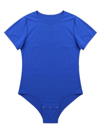 Men/'s Press Button Crotch Shirt Bodysuit Short Sleeve Leotard Romper Undershirt
