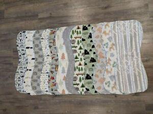 Wilderness-Flannel-Burp-Cloths-Contoured-Soft-Double-Layer-Mix-Or-Match-Handmade