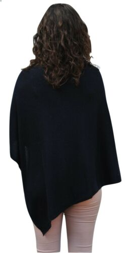 Ladies 100/% Cashmere Luxury Lightweight Poncho In Navy Blue Handcrafted In Nepal