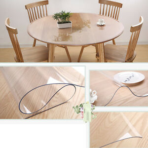 Image Is Loading Round Clean Transparent Tablecloth Mat PVC Glass Effect