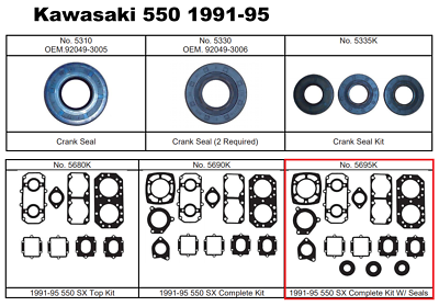 Head Green  Kawasaki 91-95 All 550SX/'s 11004-3706 Gasket Cyl
