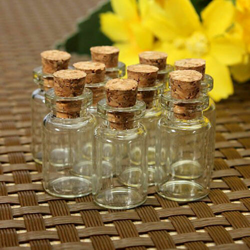 10pcs//set Mini Useful Small Glass Bottles Cork Stopper hot Vials Container O2R1