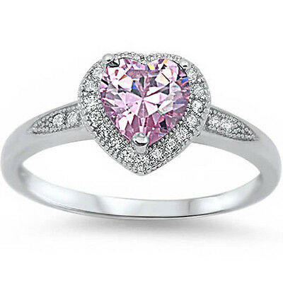 Halo Style Heart Cut Pink Cz Promise .925 Sterling Silver Ring Sizes 4-12