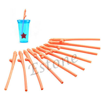 10 x Plastic Willy Straws Hen Night Party Dicky Straw Adult Fun Party Dick Straw