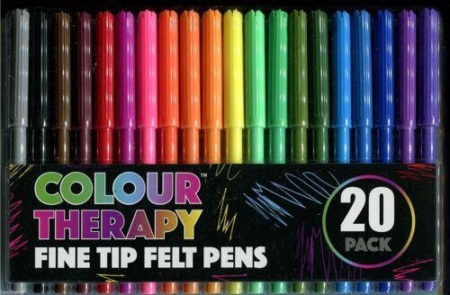 Vrac Prix 200 Coloration Stylos 10 x Couleur Thérapie Fine Tip feutres Pack 20