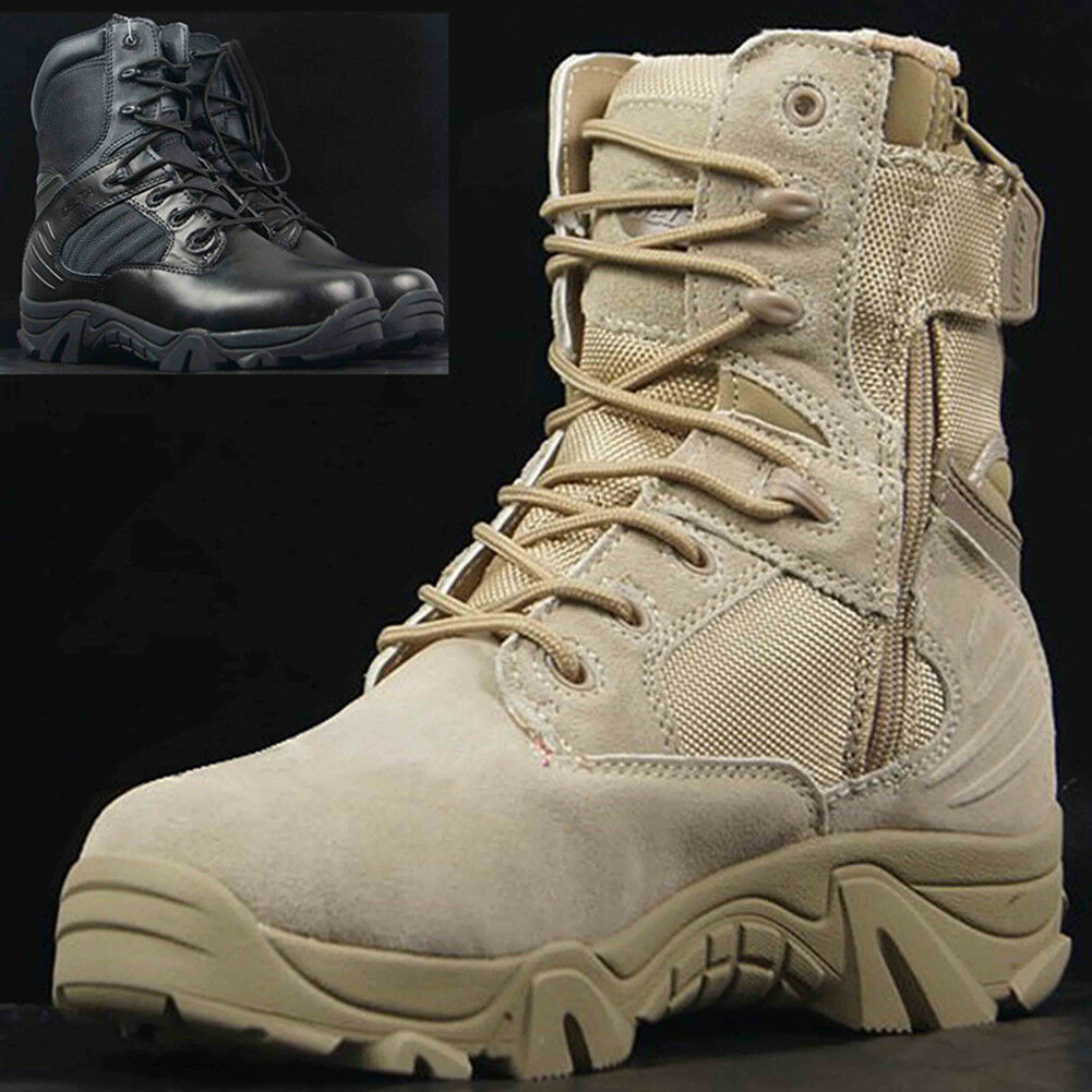 Durable Tactical Military Ankle Boots Men's Comfort Leather Hiking Combat shoes